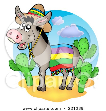 Royalty-Free (RF) Clipart Illustration of a Mexican Donkey By Cactus Plants by visekart