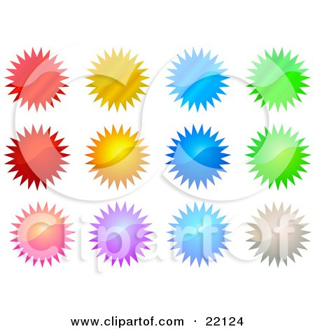 Clipart Illustration of a Collection Of 12 Reflective Red, Orange, Blue, Pink, Silver And Green Star Shape Seals And Bursts by Tonis Pan