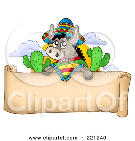 Royalty-Free (RF) Clipart Illustration of a Mexican Donkey Over A Blank Parchment Banner by visekart