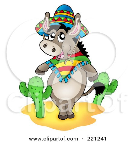 Royalty-Free (RF) Clipart Illustration of a Mexican Donkey Standing By Cactus Plants by visekart