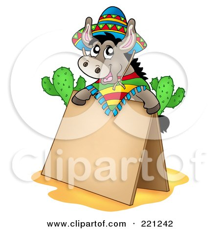 Royalty-Free (RF) Clipart Illustration of a Mexican Donkey Behind A Blank Sidewalk Sign by visekart