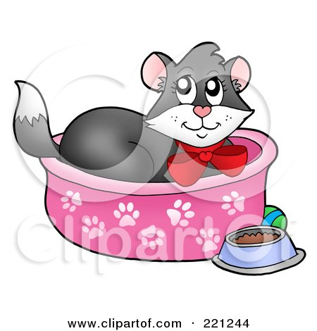 Royalty-Free (RF) Clipart Illustration of a Tuxedo Cat In A Cat Bed by visekart
