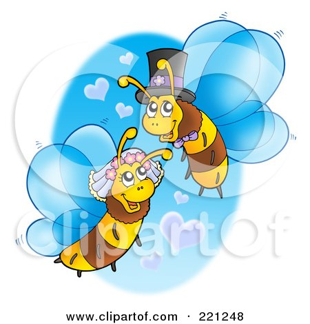 Royalty-Free (RF) Clipart Illustration of a Wedding Bee Couple With Heart Clouds by visekart
