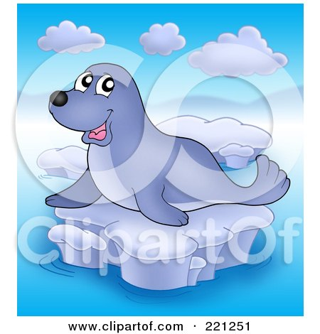 Royalty-Free (RF) Clipart Illustration of a Happy Cute Seal On Ice - 2 by visekart