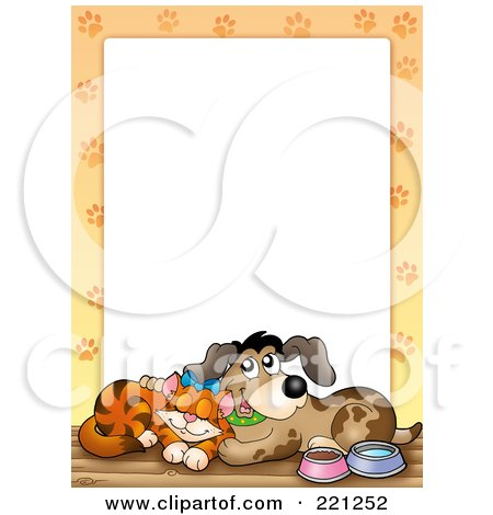 Royalty-Free (RF) Clipart Illustration of a Frame Of A Happy Cat And Dog With Paw Prints Around White Space by visekart