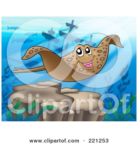 Royalty-Free (RF) Clipart Illustration of a Swimming Eagle Ray Near A Sunken Ship by visekart