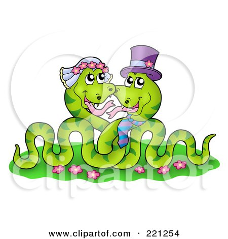 Royalty-Free (RF) Clipart Illustration of a Green Snake Wedding Couple by visekart