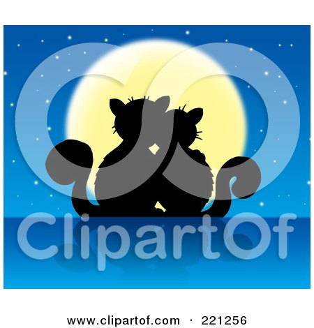 Royalty-Free (RF) Clipart Illustration of a Silhouetted Cat Couple Against A Full Moon And Starry Sky by visekart