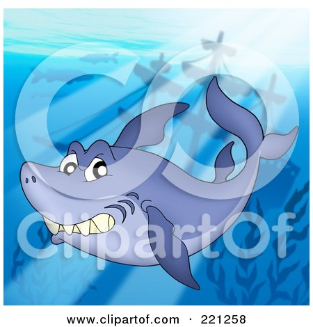 Royalty-Free (RF) Clipart Illustration of a Shark Swimming In Sunlight Above A Sunken Ship by visekart