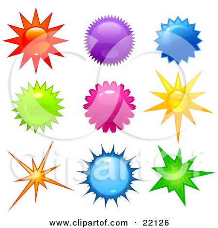 Clipart Illustration of a Collection Of 9 Bright Stars And Bursts In Red, Purple, Blue, Yellow, Pink And Green Colors by Tonis Pan