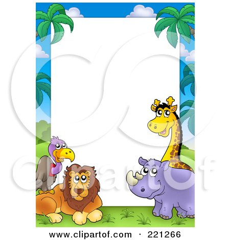 Royalty-Free (RF) Clipart Illustration of a Border Frame Of A Vulture, Lion, Rhino And Giraffe Around White Space by visekart