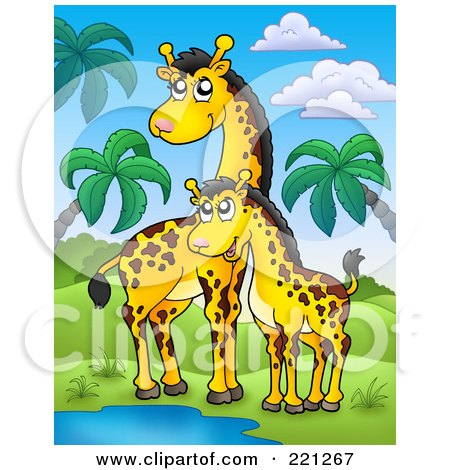 Royalty-Free (RF) Clipart Illustration of a Mother And Baby Giraffe By A Watering Hole In A Tropical Landscape by visekart