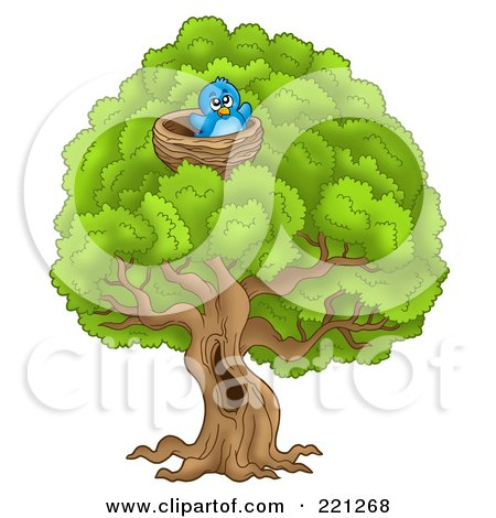Royalty-Free (RF) Clipart Illustration of a Blue Bird In A Nest In A Big Tree by visekart