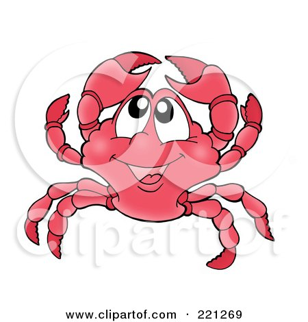 Royalty-Free (RF) Clipart Illustration of a Cute Crab Holding Up His Claws by visekart