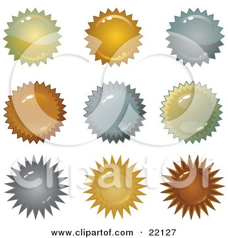 Clipart Illustration of a Collection Of 9 Metallic Copper, Silver And Gold Metal Star Shape Seals And Bursts by Tonis Pan