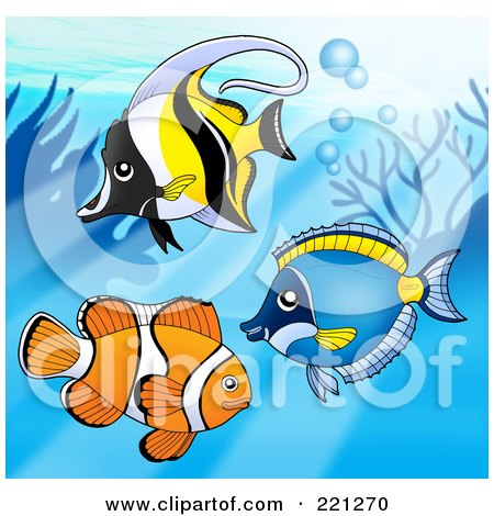Royalty-Free (RF) Clipart Illustration of Three Marine Fish By A Reef - 1 by visekart