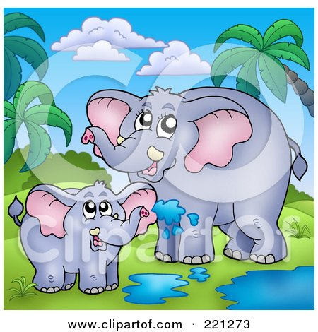Royalty-Free (RF) Clipart Illustration of a Mother And Baby Elephant Playing In A Puddle In A Tropical Landscape by visekart