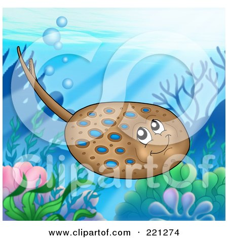 Royalty-Free (RF) Clipart Illustration of a Cute Brown And Blue Spotted Ray Above A Reef by visekart