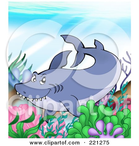Royalty-Free (RF) Clipart Illustration of a Sly Shark Swimming Over A Reef by visekart