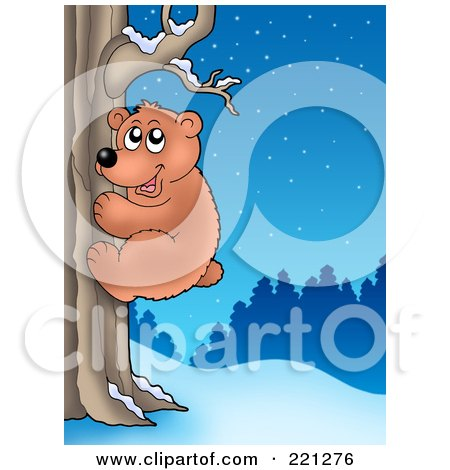 Royalty-Free (RF) Clipart Illustration of a Bear Climbing A Tree On A Winter Night by visekart