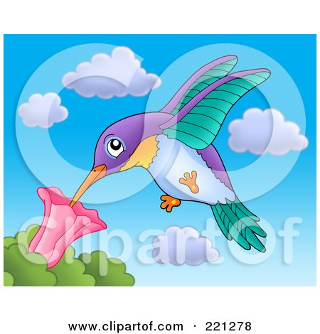 Royalty-Free (RF) Clipart Illustration of a Hummingbird Extracting Nectar From A Flower by visekart