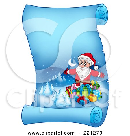 Royalty-Free (RF) Clipart Illustration of Santa Surrounded By Gifts On A Frozen Blue Parchment Scroll Page by visekart