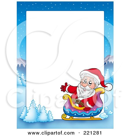 Royalty-Free (RF) Clipart Illustration of a Christmas Frame Border Of Santa In A Sleigh With A Winter Landscape Around White Space by visekart