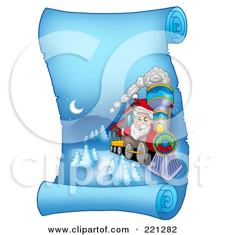 Royalty-Free (RF) Clipart Illustration of Santa Operating A Train On A Frozen Blue Parchment Scroll Page by visekart