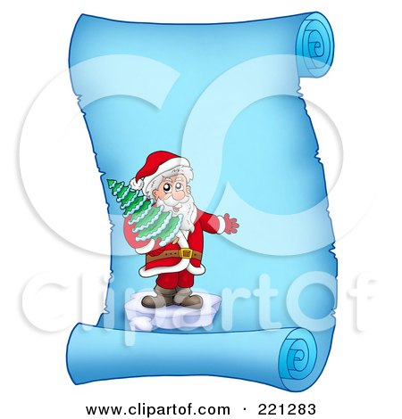 Royalty-Free (RF) Clipart Illustration of Santa Standing On Ice And Holding A Tree On A Frozen Blue Parchment Scroll Page by visekart