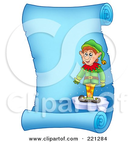 Royalty-Free (RF) Clipart Illustration of a Christmas Elf Standing On Ice On A Frozen Blue Parchment Scroll Page by visekart