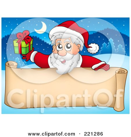 Royalty-Free (RF) Clipart Illustration of Santa Holding A Gift Over A Blank Parchment Scroll Banner Against A Winter Landscape by visekart