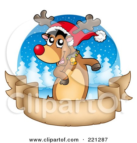 Royalty-Free (RF) Clipart Illustration of a Red Nosed Reindeer Dancing Over A Blank Parchment Banner Over A Winter Circle by visekart