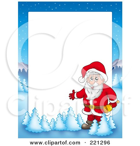 Royalty-Free (RF) Clipart Illustration of a Christmas Frame Border Of Santa Holding A Bell With A Winter Landscape Around White Space by visekart