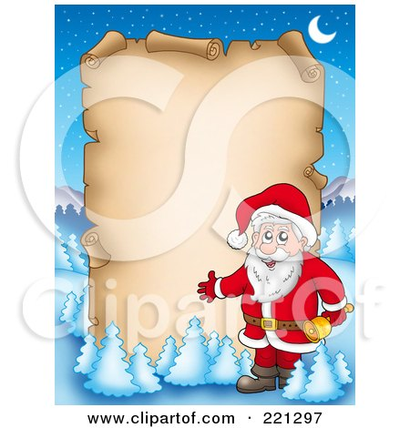 Royalty-Free (RF) Clipart Illustration of Santa Presenting A Blank Aged Parchment Sign, Surrounded By Flocked Trees by visekart