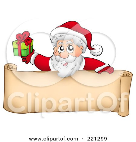 Royalty-Free (RF) Clipart Illustration of Santa Holding A Present Over A Blank Parchment Banner by visekart