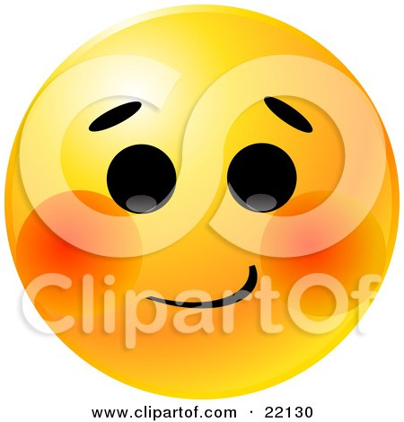 Clipart Illustration of a Yellow Emoticon Face With A Bashful Expression And Blushing Red Cheeks by Tonis Pan