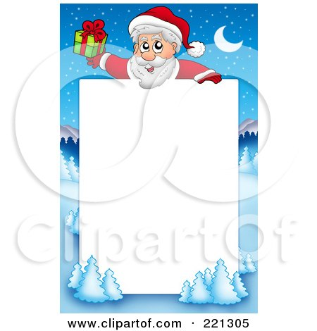 Royalty-Free (RF) Clipart Illustration of a Christmas Frame Border Of Santa Holding A Gift With A Winter Landscape Around White Space by visekart