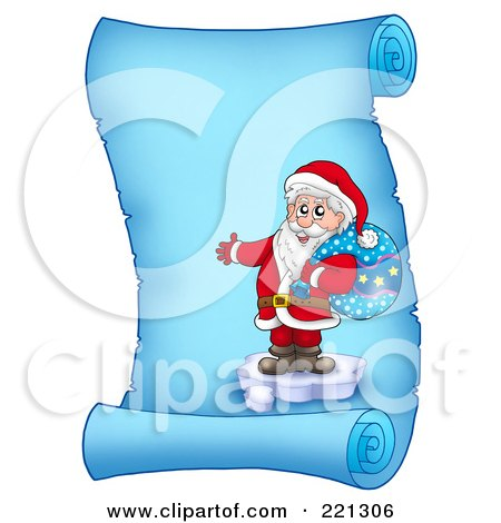 Royalty-Free (RF) Clipart Illustration of Santa Standing On Ice And Holding A Sack On A Frozen Blue Parchment Scroll Page by visekart
