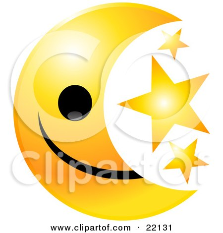 Clipart Illustration of a Yellow Moon Emoticon Face With Three Golden Stars by Tonis Pan