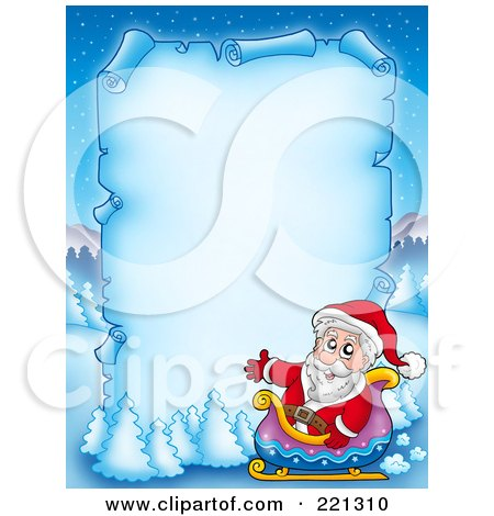 Royalty-Free (RF) Clipart Illustration of Santa In A Sleigh By A Frozen Blue Parchment Sign With Snow Flocked Trees by visekart