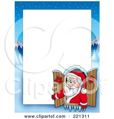 Royalty-Free (RF) Clipart Illustration of a Christmas Frame Border Of Santa In A Window With A Winter Landscape Around White Space by visekart