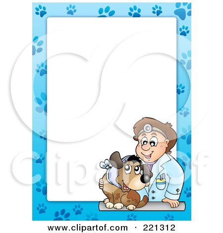 Royalty-Free (RF) Clipart Illustration of a Frame Of A Male Vet And A Dog With Paw Prints Around White Space - 1 by visekart