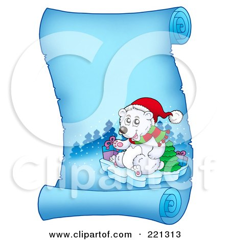 Royalty-Free (RF) Clipart Illustration of a Christmas Polar Bear On A Frozen Blue Parchment Scroll Page by visekart