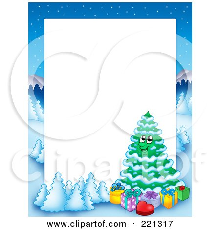 Royalty-Free (RF) Clipart Illustration of a Christmas Frame Border Of A Winter Landscape And Christmas Tree Around White Space - 2 by visekart