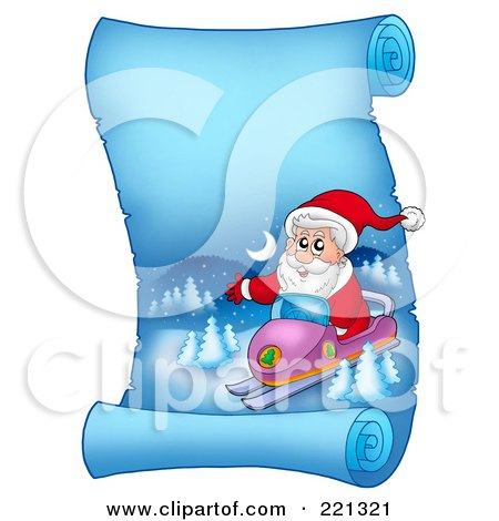 Royalty-Free (RF) Clipart Illustration of Santa Snowmobiling On A Frozen Blue Parchment Scroll Page by visekart
