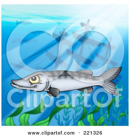 Royalty-Free (RF) Clipart Illustration of a Mean Barracuda Fish By A Sunken Ship by visekart