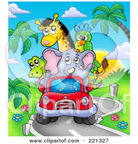 Royalty-Free (RF) Clipart Illustration of a Car Full Of African Animals Driving On A Windy Road by visekart
