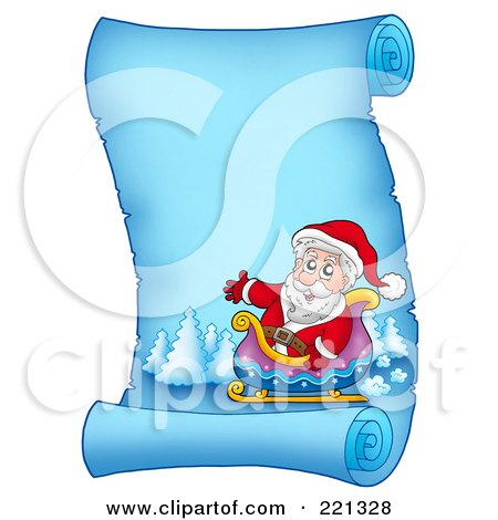 Royalty-Free (RF) Clipart Illustration of Santa In His Sleigh On A Frozen Blue Parchment Scroll Page by visekart