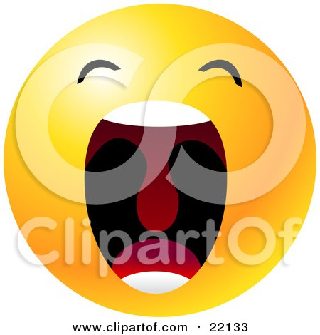 Clipart Illustration of a Yellow Emoticon Face With His Mouth Wide Open Showing His Uvula, Symbolizing Frustration And Annoyance by Tonis Pan