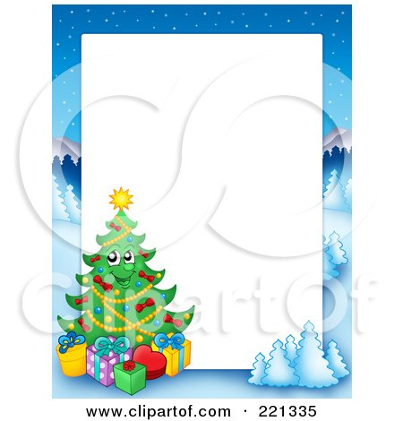 Royalty-Free (RF) Clipart Illustration of a Christmas Frame Border Of A Winter Landscape And Christmas Tree Around White Space - 1 by visekart